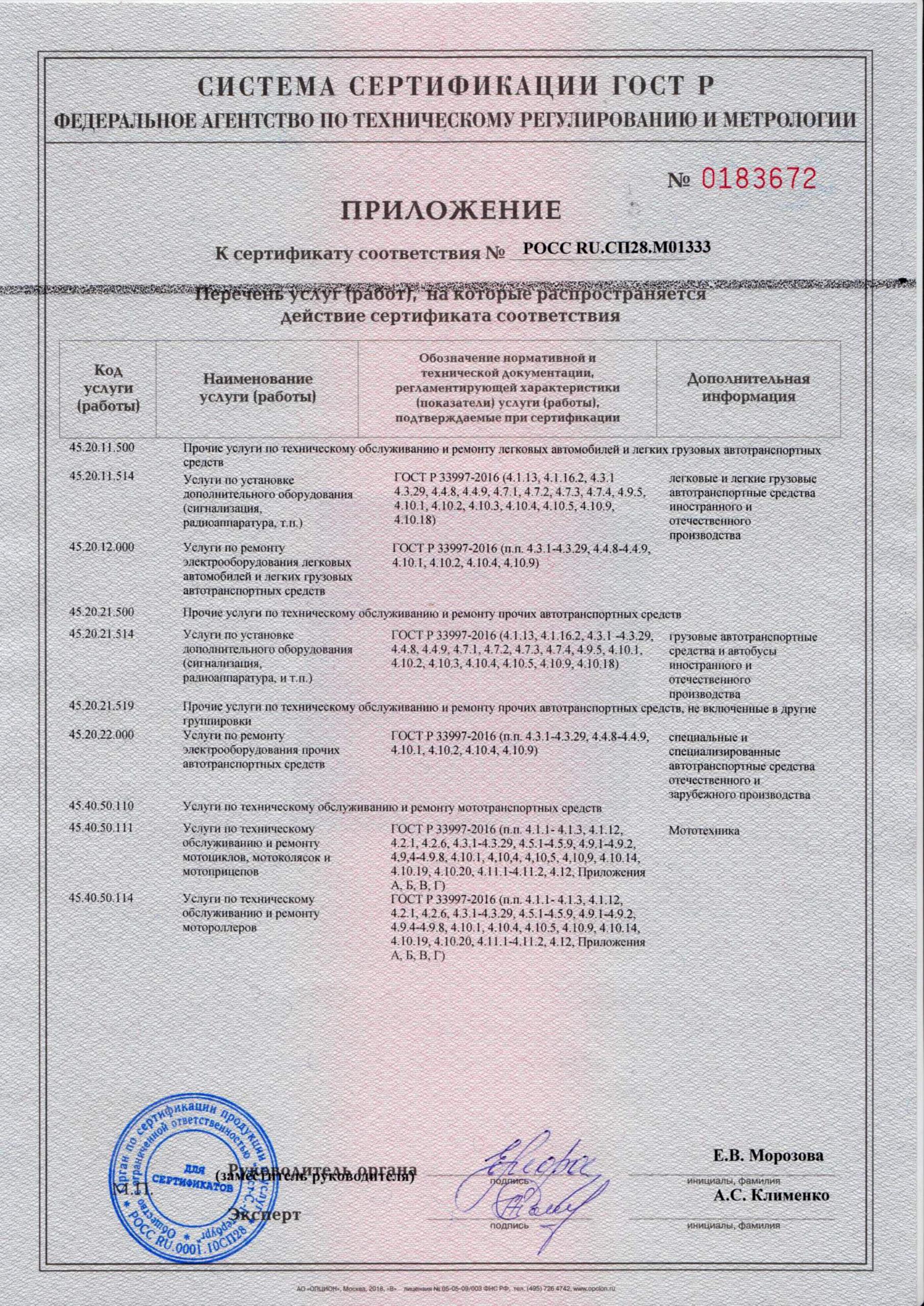 Сертификат соответствия на услуги по установи противоугонного оборудования и доп оборудования на автомобили